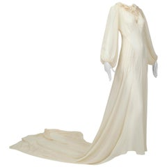 Haute Couture Cream Medieval Cathedral Train Wedding Gown - Small, 1930s