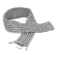 Diamond Bracelet White Gold Flexible Mesh