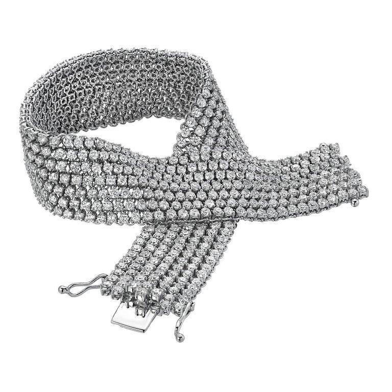 d89afd1803c Diamond Bracelet White Gold Flexible Mesh