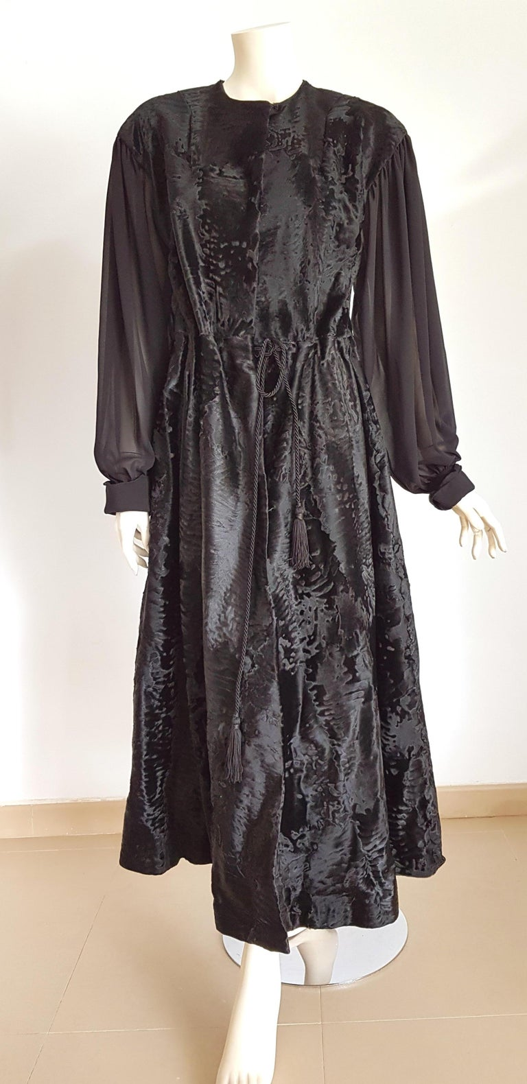Giuliana TESO Haute Couture evening day maxidress of black wild Russian Breitschwanz Fur, with chiffon sleeves, monogram on the silk lining - Unworn, New.  SIZE: equivalent to about Small / Medium, please review approx measurements as follows in cm: