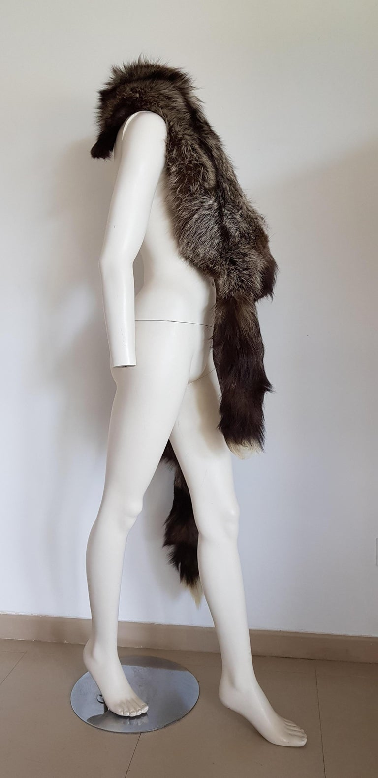 HAUTE COUTURE Two Silver Wild Fox Vintage STOLE with Swarovski. Good condition. Fur kept professionally. SIZE: Two foxes. Each fox: length 130 cm, width 20 cm. TO CONVERT: cm x 0.39 = inch.