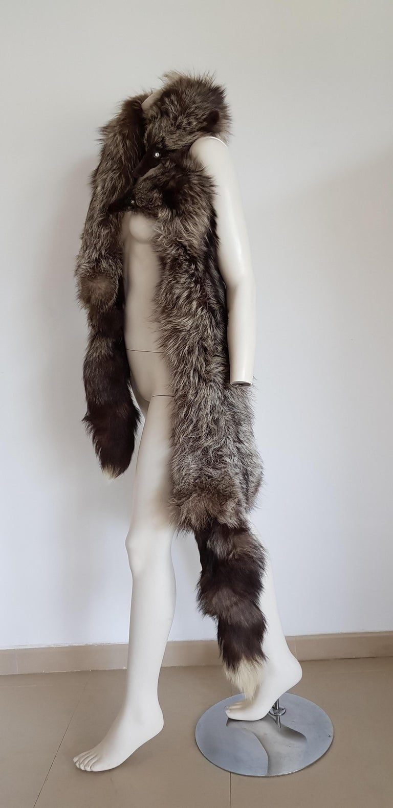 Black HAUTE COUTURE Two Silver Wild Fox Vintage STOLE with Swarovski For Sale