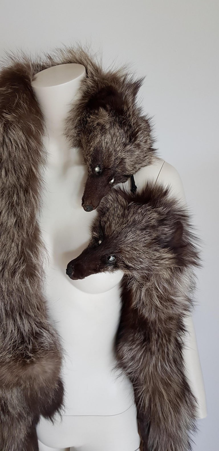 Women's HAUTE COUTURE Two Silver Wild Fox Vintage STOLE with Swarovski For Sale
