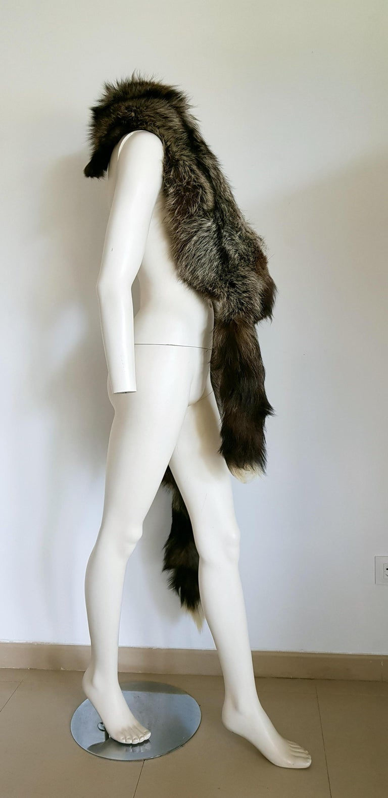 HAUTE COUTURE Two Silver Wild Fox Vintage STOLE with Swarovski For Sale 2