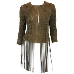 Haute Hippie Green Leather Jacket with Fringe