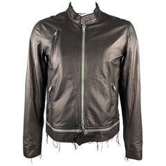 HAUTE Size 42 Black Leather Full Zip High Collar Zip Pockets Raw Hem Jacket