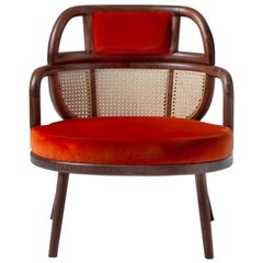 Havana Rattan Armchair, Contemporary Bohemian Style Velvet Lounge Chair