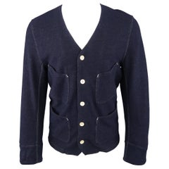 HAVER SACK M Navy Contrast Stitch Wool Blend V Neck Patch Pocket Jacket