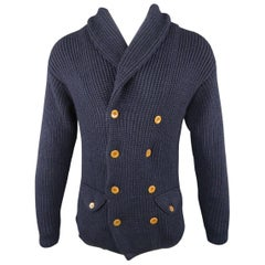 HAVER SACK Size M Navy Wool Blend Double Breasted Shawl Collar Cardigan