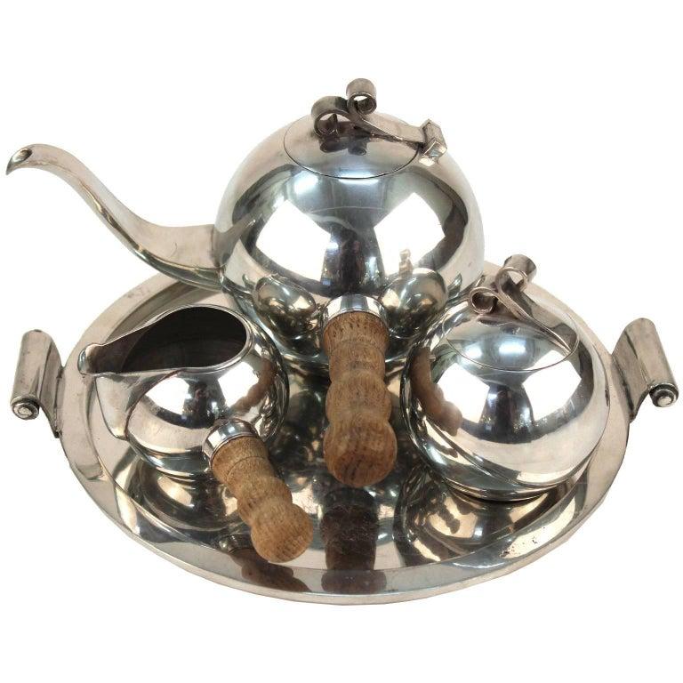Havstad Norwegian Art Deco Pewter Tea Set on Serving Plate