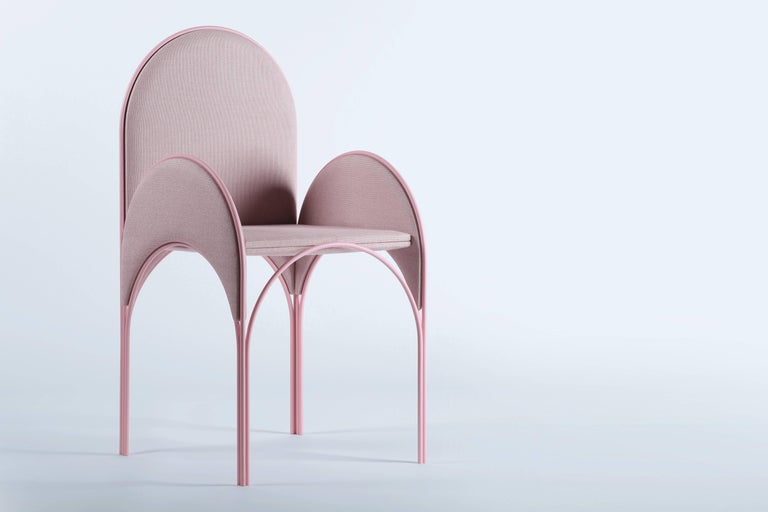 Hawa Beirut Fully Upholstered Pink Chair by Richard Yasmine In New Condition For Sale In Firenze, IT