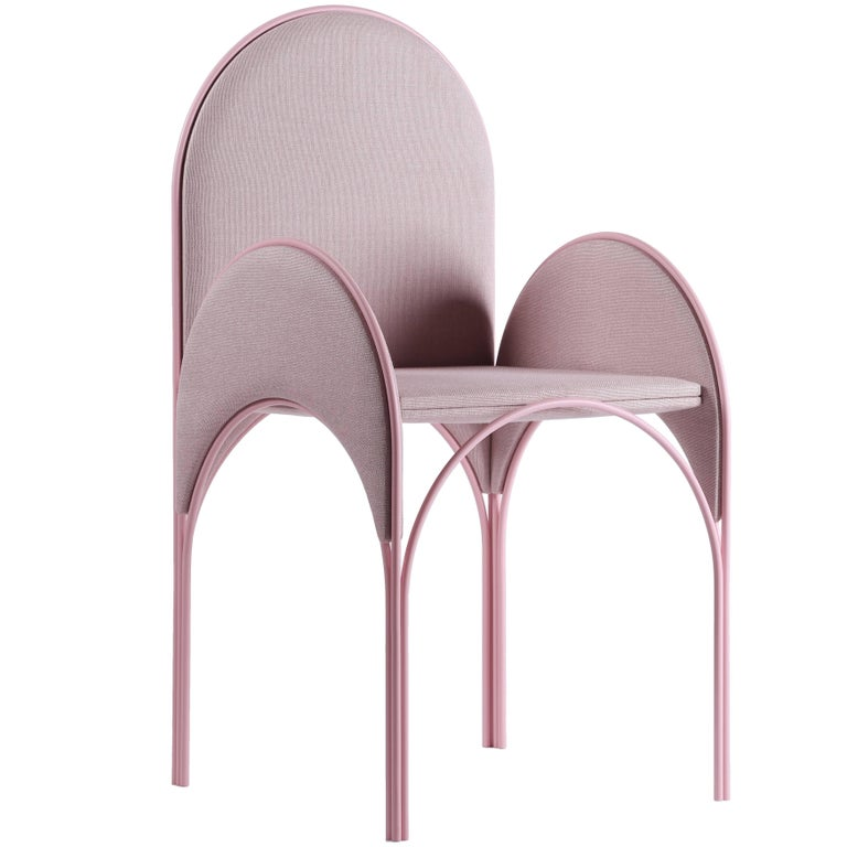 Hawa Beirut Fully Upholstered Pink Chair by Richard Yasmine For Sale