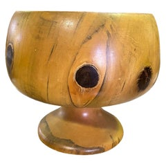 Hawaiian Artist Hand Carved Turned Wood Vessel Garniture Sculpture Vase Chalice