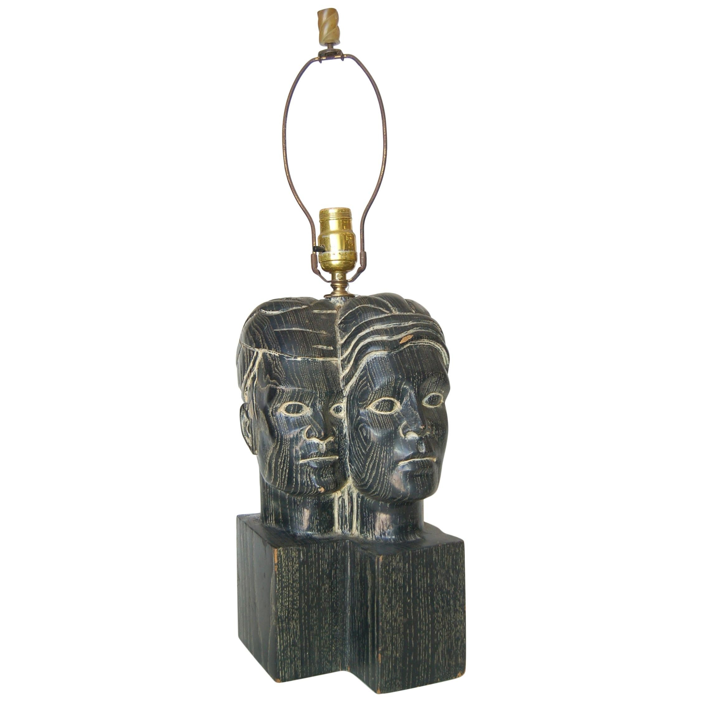"""Hawaiian Carved Ebony """"Lovers"""" Male and Female Bust Sculptural Table Lamp"""
