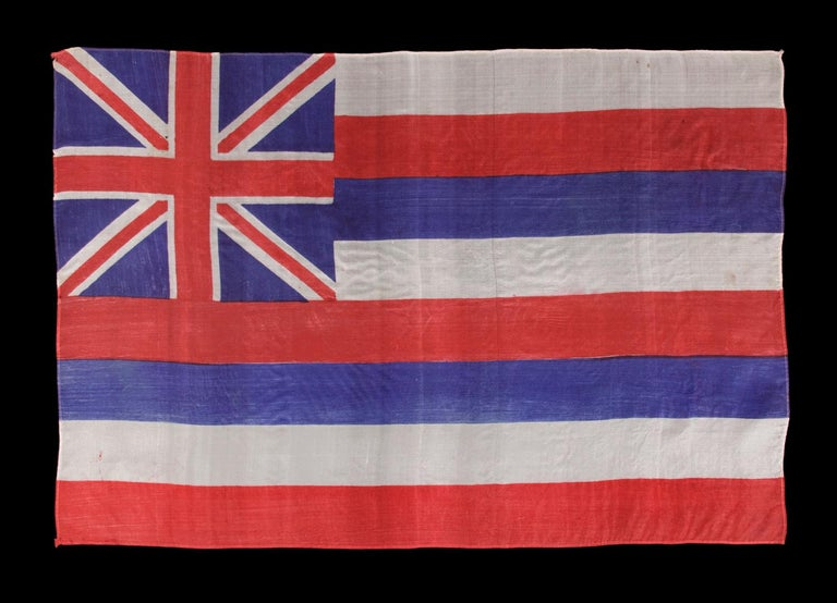Hawaiian parade flag, circa 1893-1920s, pre-statehood, A rare example in this early period  Hawaiian parade flag, printed on silk, made sometime in the period between 1893 and the 1920's. Parade flags were affixed to wooden staffs and intended for