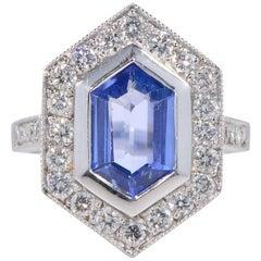 Hawkantiques 3.0 Carat Natural No Heat Ceylon Sapphire Ring 1.50 Carat Rare