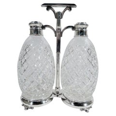 Hawkes American Sterling Silver and Cut-Glass Double Decanter Set