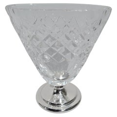 Hawkes Mid-Century Modern Sterling Silver and Cut-Glass Cigarette Cup