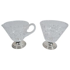 Hawkes Mid-Century Modern Sterling Silver and Cut-Glass Creamer & Sugar