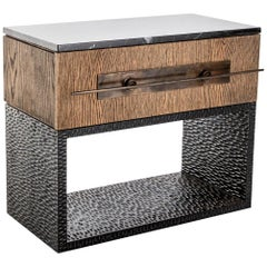 Hawkstone Hand Chiseled Wood, Timber, Marble and Bronzed Steel Bedside Pedestal
