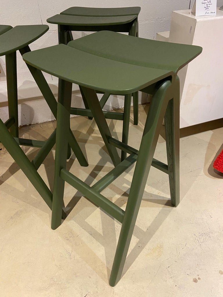 HAY - Set of 3 stools in oak, 2015 Measures: 36 x 38 x H 76 cm Perfect condition!