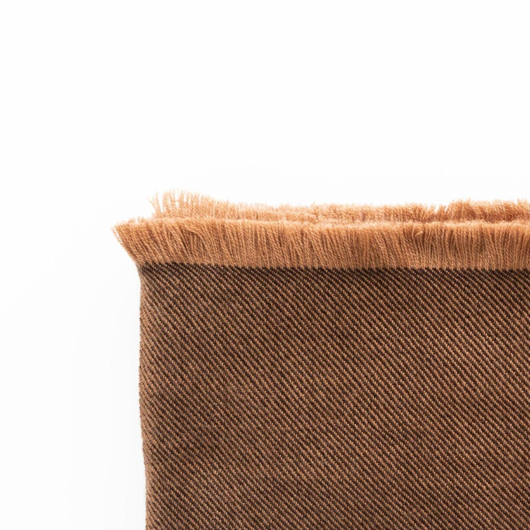 Modern Hay, Warm Brown Shade King Size Bedspread / Coverlet Handwoven in Soft Merino For Sale