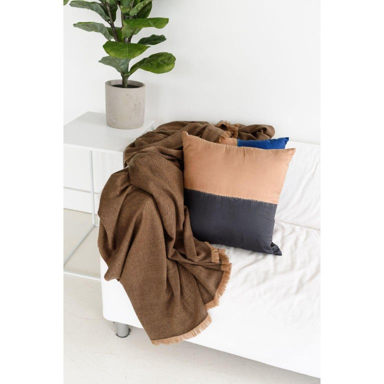 Nepalese Hay, Warm Brown Shade King Size Bedspread / Coverlet Handwoven in Soft Merino For Sale