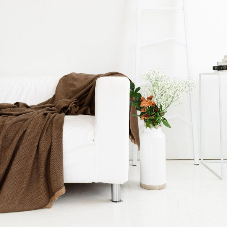Contemporary Hay, Warm Brown Shade King Size Bedspread / Coverlet Handwoven in Soft Merino For Sale
