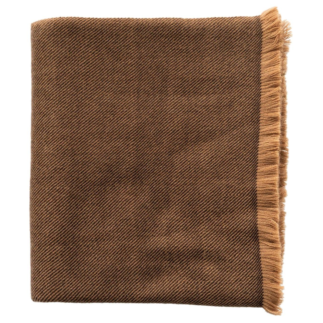 Hay, Warm Brown Shade King Size Bedspread / Coverlet Handwoven in Soft Merino