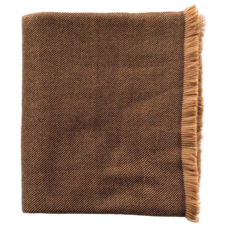 Hay, Warm Brown Shade King Size Bedspread / Coverlet Handwoven in Soft Merino For Sale