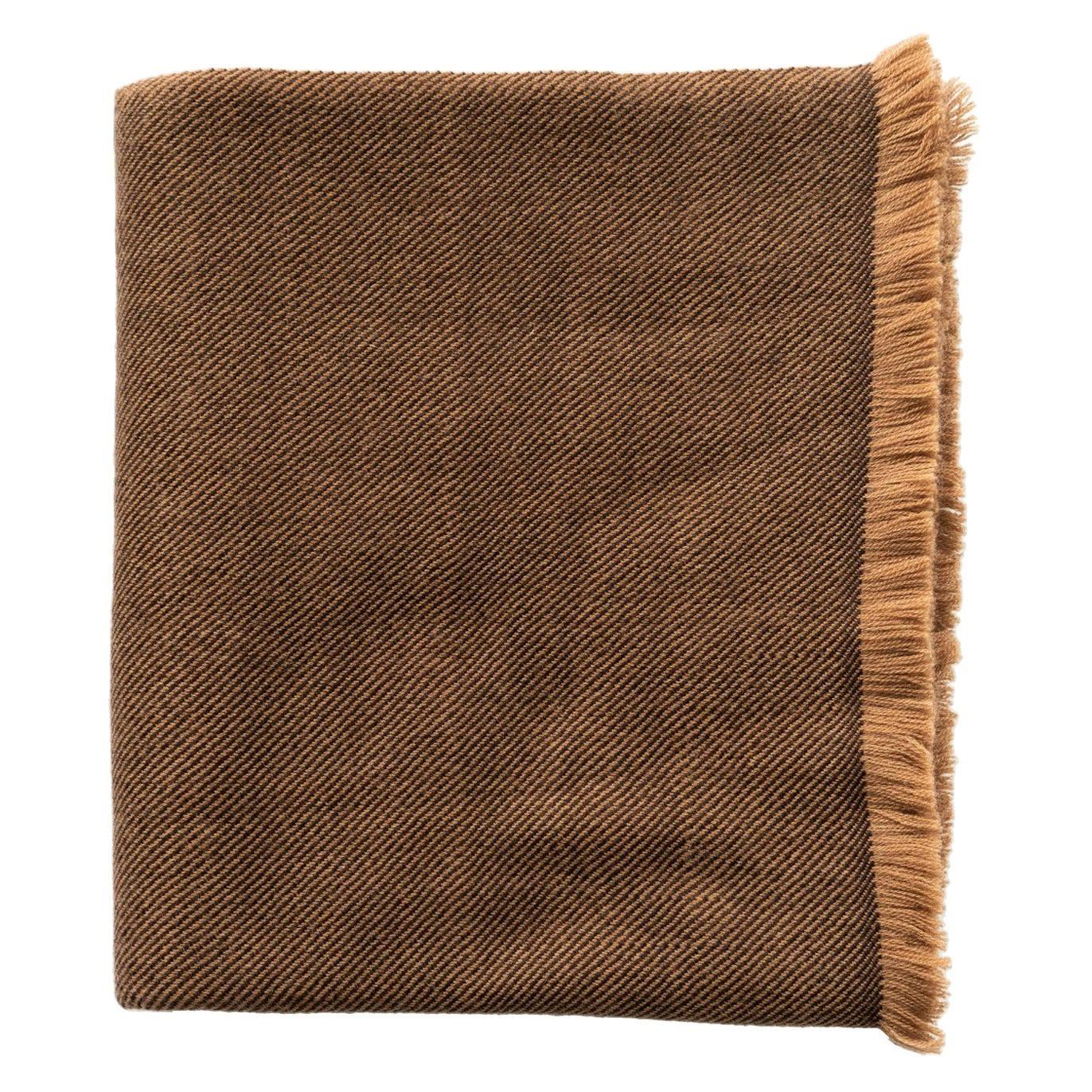 Hay, Warm Brown Shade Queen Size Bedspread / Coverlet Handwoven in Soft Merino
