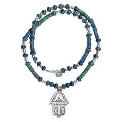 Hayat Lapis Lazuli and Green Jade Silver Hamsa Necklace