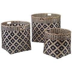 Hayden Basket Set in Natural and Black Bamboo by Curatedkravet