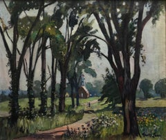 """""""Fairfield Church, New Jersey"""" Colorful Antique American Impressionist Landscape"""
