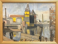 """Harbor with Industrial Plant""-Framed, Original Oil on Hardboard."
