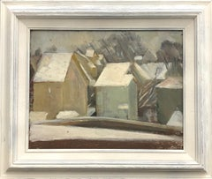 """Houses"" Framed Original Oil on Hardboard."