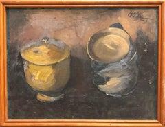 """Still Life of Two Pots"" Framed Oil on Hardboard, Signed by Artist"