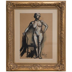 Hayley Lever Signed Mixed-Media Ink and Gouache Painting, Nude Model and Feline