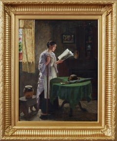 19th Century genre oil painting of a woman reading a paper