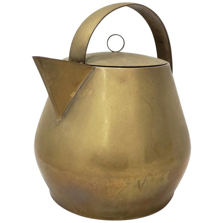 Hayno Focken Brass Teapot with Lid, circa 1930 For Sale