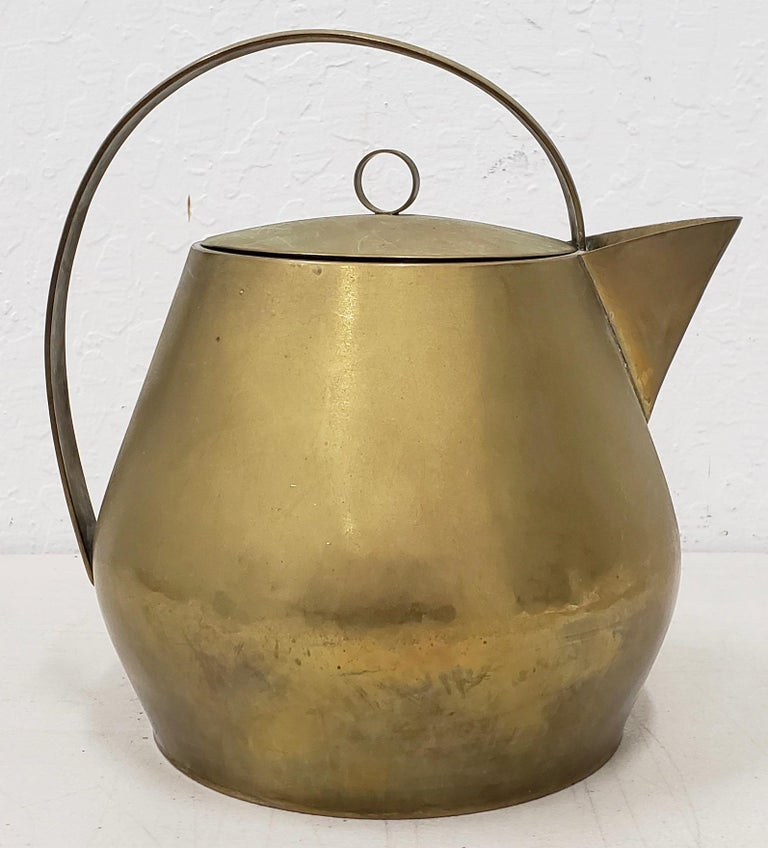 Hayno Focken (Germany, 1905-1968) rare brass teapot with lid, circa 1930  Extremely rare handmade teapot by noted metalworker Hayno Focken.  Dimensions approximately 8