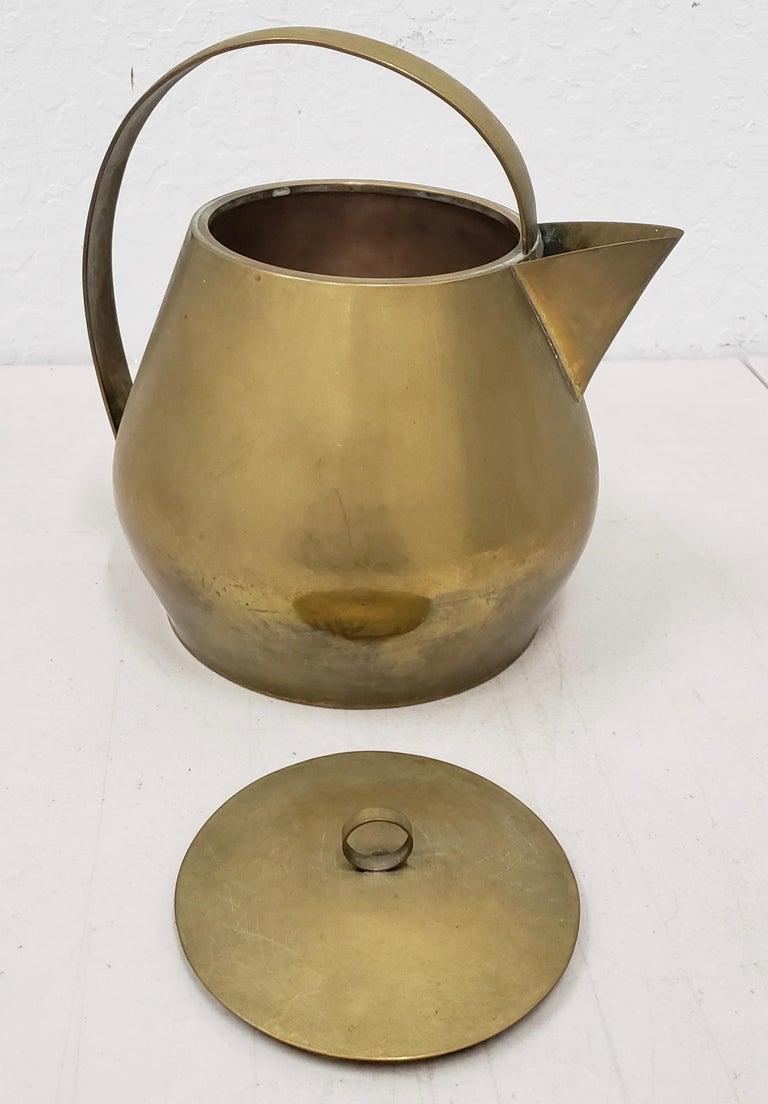 Bauhaus Hayno Focken Brass Teapot with Lid, circa 1930 For Sale