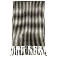 HAYWARD LONDON Black & White Houndstooth Silk Fringe Scarf