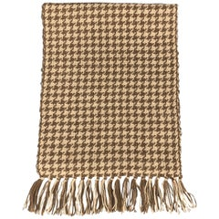 HAYWARD LONDON Brown & Beige Houndstooth Woven Alpaca Fringe Scarf
