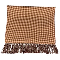 HAYWARD LONDON Burgundy & Beige Houndstooth Silk Fringe Scarf