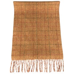 HAYWARD LONDON Burnt Orange & Green Pliad Wool Fringe Scarf