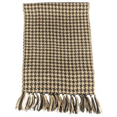 HAYWARD LONDON Grey & Beige Houndstooth Alpaca Fringe Scarf