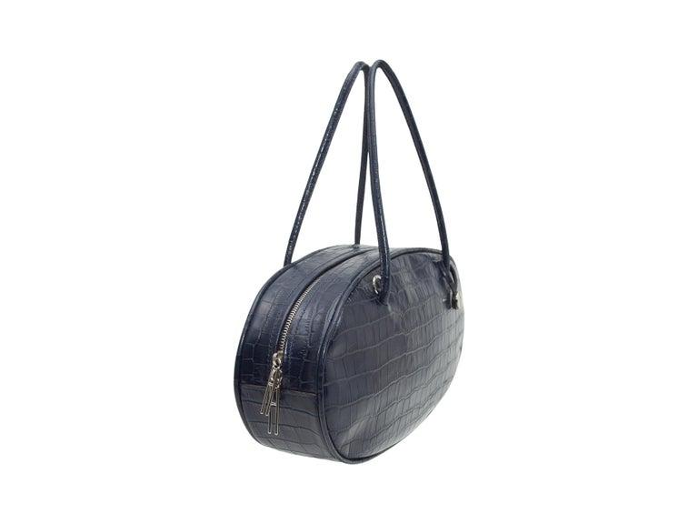 Black Hayward Navy Embossed Leather Oval Handbag For Sale