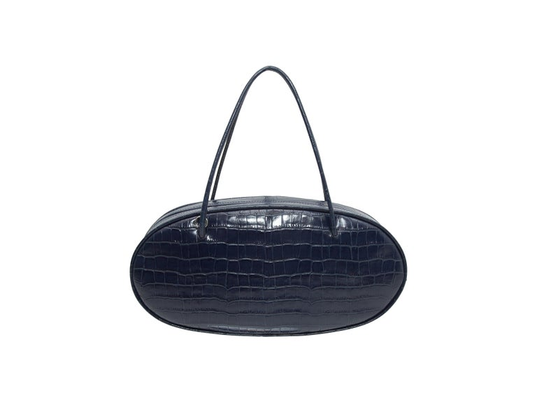 Hayward Navy Embossed Leather Oval Handbag In Good Condition For Sale In New York, NY