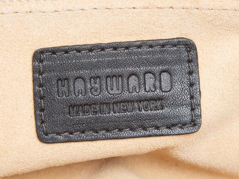 Women's Hayward Navy Embossed Leather Oval Handbag For Sale